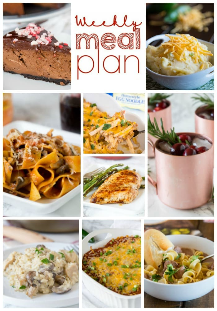 Weekly Meal Plan Week 177 - Make the week easy with this delicious meal plan. 6 dinner recipes, 1 side dish, 1 dessert, and 1 fun cocktail make for a tasty week!