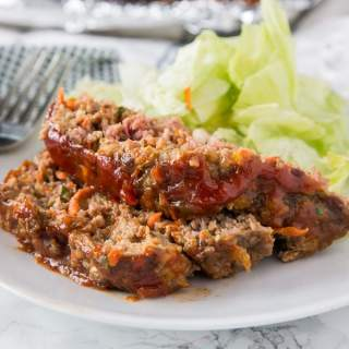 A plate of food, with Meatloaf