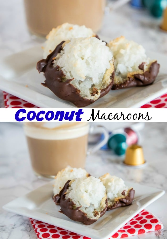 Coconut Macaroons - super simple sweet coconut cookies that are dipped in chocolate. If you like coconut you are going to love these!