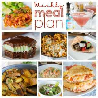 Weekly Meal Plan Week 188- Make the week easy with this delicious meal plan. 6 dinner recipes, 1 side dish, 1 dessert, and 1 fun cocktail make for a tasty week!