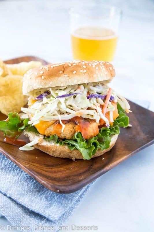 Buffalo Chicken Burger wood plate