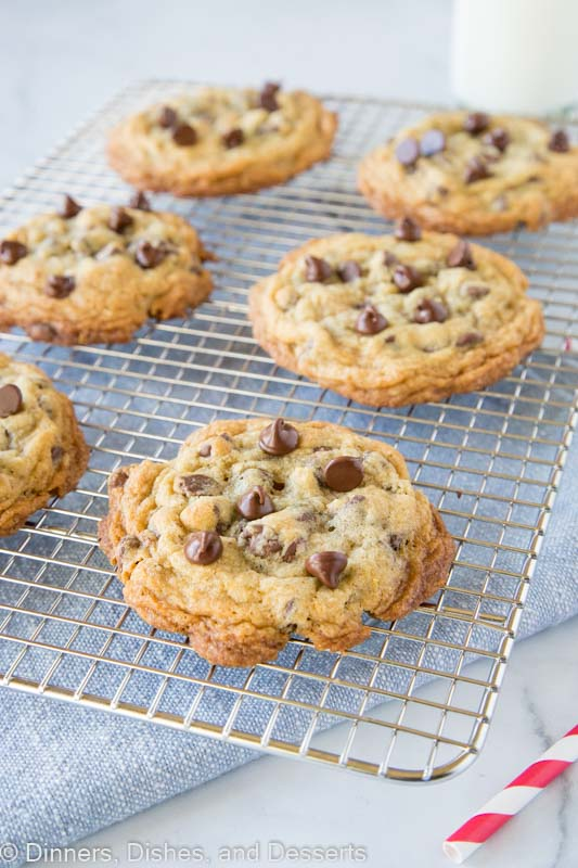 DoubleTree chocolate chip cookies on cooling wrack