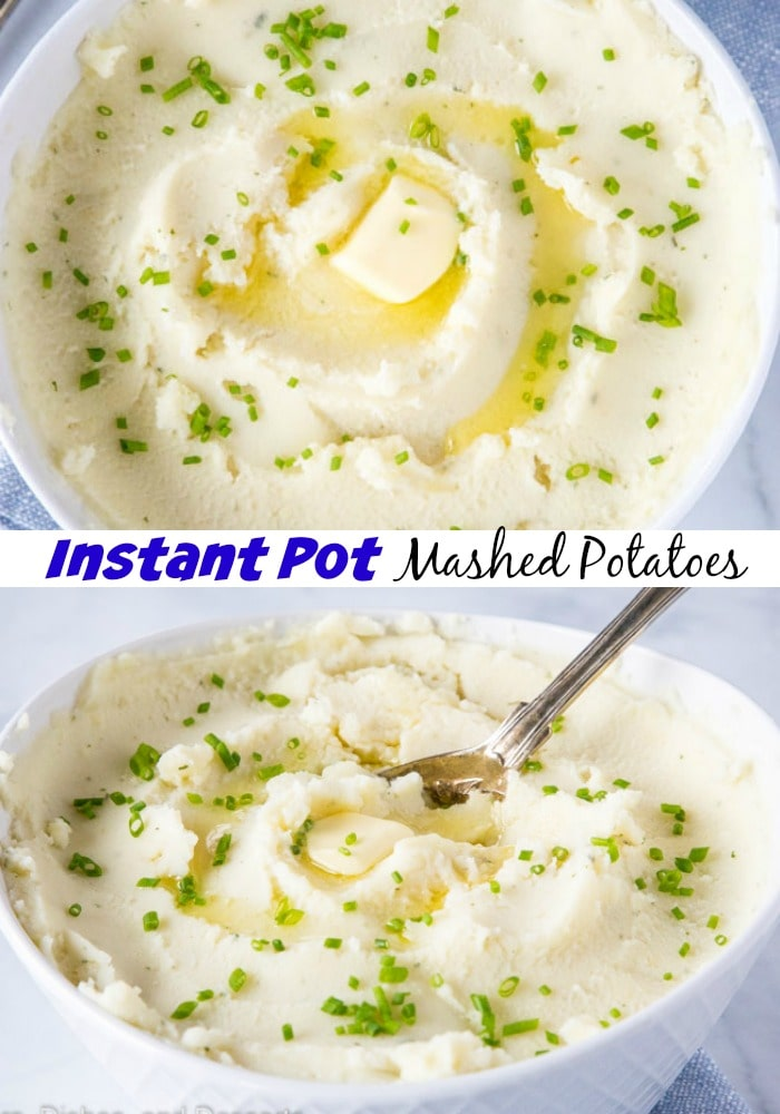 mashed potatoes in a bowl with melting butter and chives