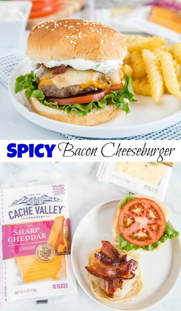 spicy bacon cheeseburger collage pin