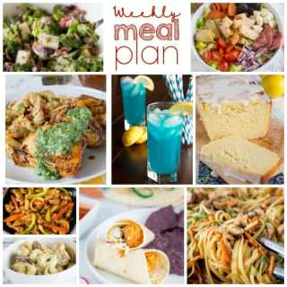 Weekly Meal Plan Week 200- Make the week easy with this delicious meal plan. 6 dinner recipes, 1 side dish, 1 dessert, and 1 fun cocktail make for a tasty week!