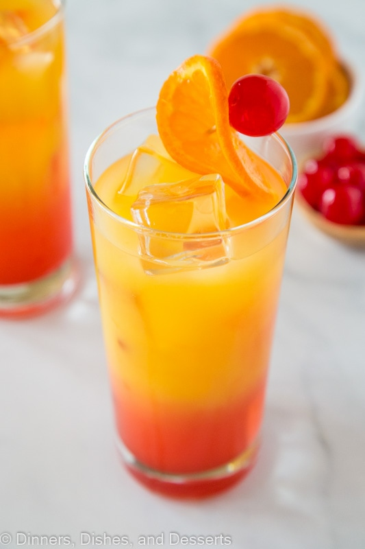 Tequila sunrise drink overhead shot