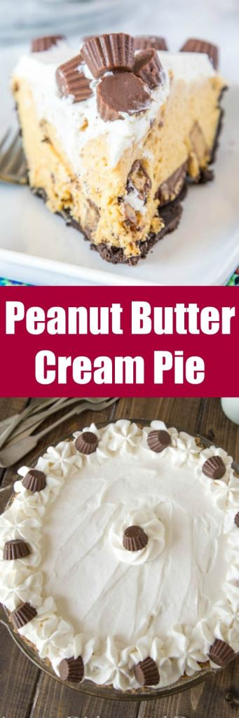 Chocolate Peanut Butter Cream Pie - A no bake peanut butter pie that is creamy and perfect for just about any occasion. It is topped with whipped cream and peanut butter cups for the ultimate dessert.