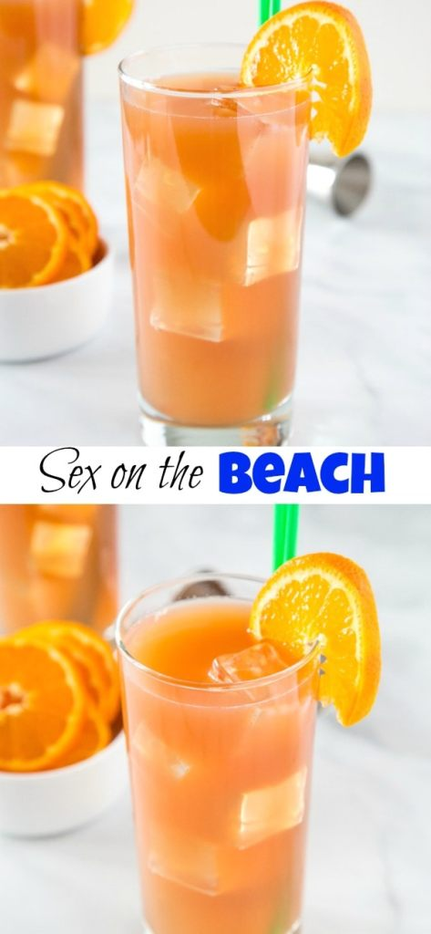 Sex on the Beach Drink - the classic beach cocktail with cranberry juice, orange juice, vodka, and peach schnapps. Feel like you are on vacation with these easy to make drink.