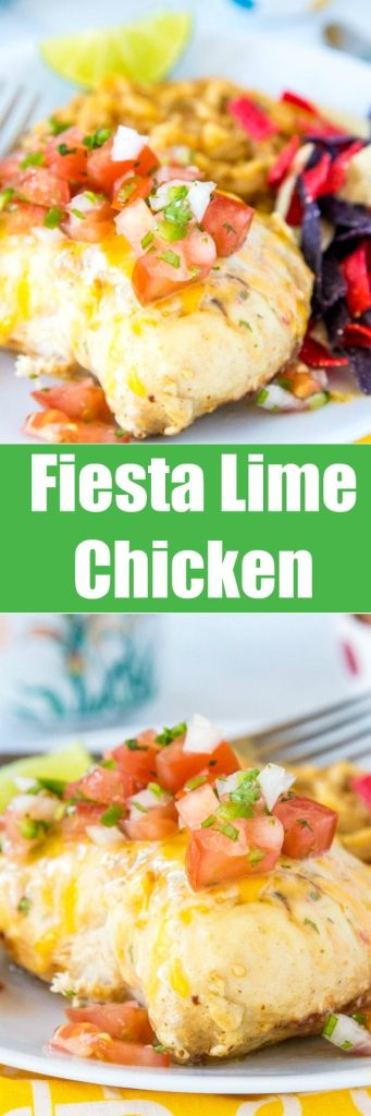 Fiesta Lime Chicken - A copycat Applebee's Fiesta Lime Chicken that is topped with a Mexican ranch sauce, melted cheese and fresh pico de gallo.