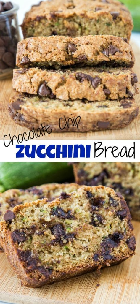 Chocolate Chip Zucchini Bread - soft and tender zucchini bread with hints of cinnamon and plenty of chocolate chips!