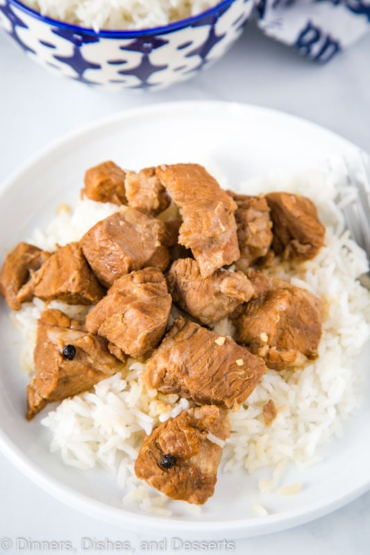 Filipino style adobo made with pork shoulder or pork butt