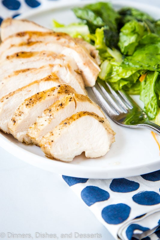 Sliced chicken breast cooked with sous vide