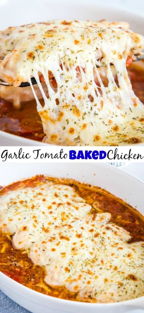 Garlic Tomato Baked Chicken - This is a super easy chicken recipe! Baked chicken in a garlic butter with an Italian tomato sauce and melted mozzarella cheese! Great for easy weeknight dinners or even entertaining!