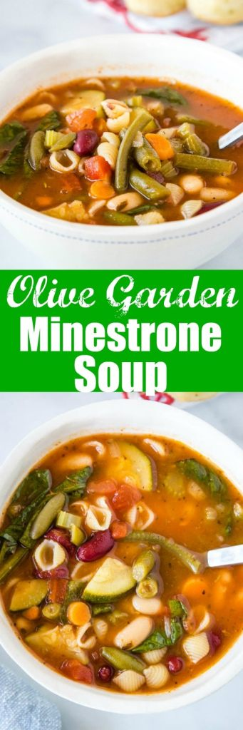 Olive Garden Minestrone Soup - Make the classic minestrone soup at home!  This soup is made all in one pan, is full of all sorts of veggies and even pasta, all in a delicious rich tomato based broth.