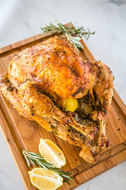 Crispy golden skin makes for the perfect Thanskgiving turkey!