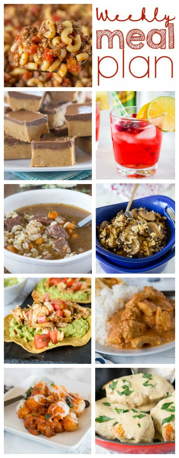 Weekly Meal Plan Week 231- Make the week easy with this delicious meal plan. 6 dinner recipes, 1 side dish, 1 dessert, and 1 fun cocktail make for a tasty week!