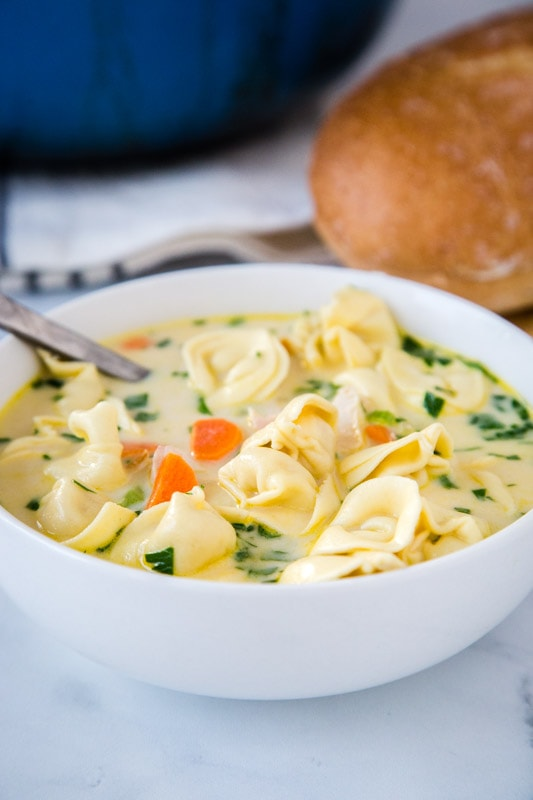 Get this soup on the table in minutes! Super easy and comforting creamy chicken tortellini soup is great for busy weeknights