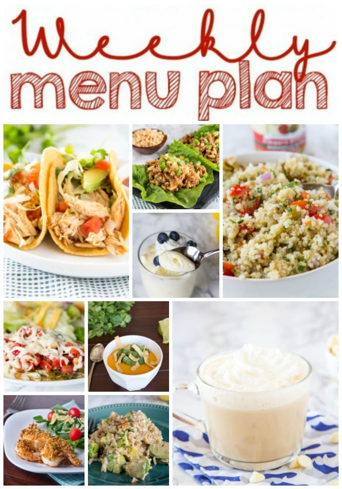 Weekly Meal Plan Week 235- Make the week easy with this delicious meal plan. 6 dinner recipes, 1 side dish, 1 dessert, and 1 fun cocktail make for a tasty week!