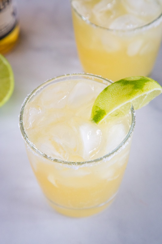 Margaritas are the best and this one is made with beer.  Sounds strange, but is so good!