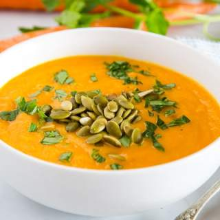 A bowl of soup, with Carrot