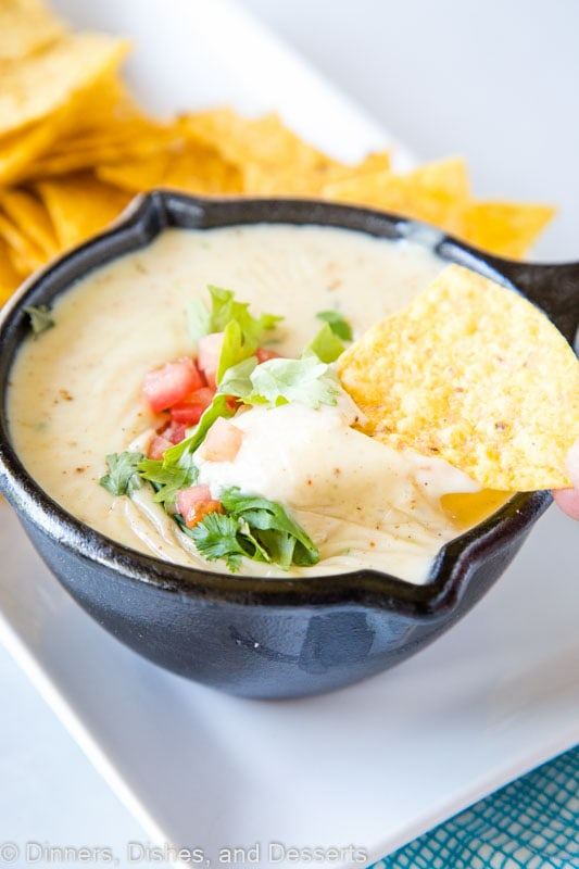 White Queso dip that is ready in minutes and perfect for any party
