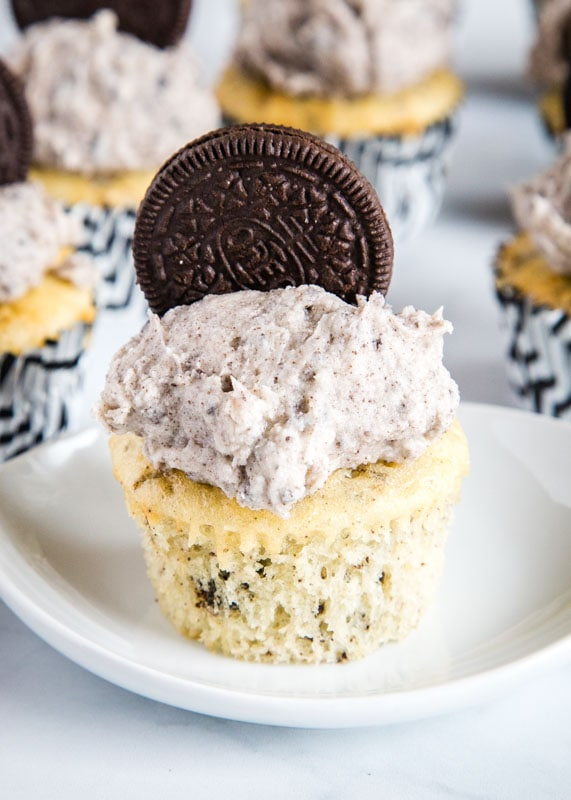 Cookies and Cream Cupcakes with vanilla cake and Oreo frosting