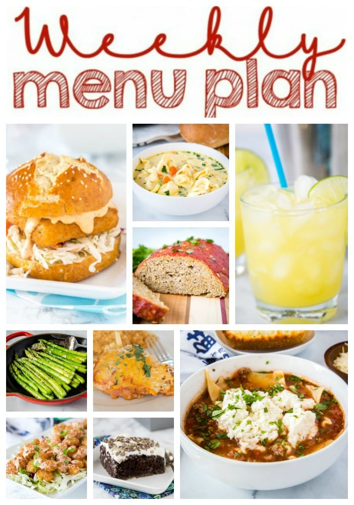 Weekly Meal Plan Week 245- Make the week easy with this delicious meal plan. 6 dinner recipes, 1 side dish, 1 dessert, and 1 fun cocktail make for a tasty week!
