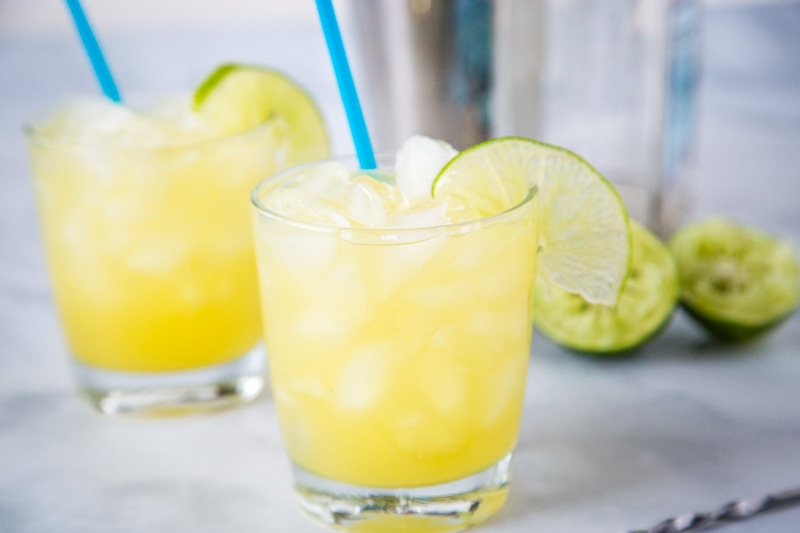 Pineapple Margarita - a fun twist on the classic margarita. The sweet pineapple makes it extra tasty. Just 4 ingredients to make this easy and delicious cocktail.
