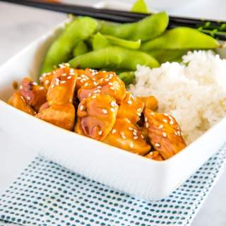 Honey Teriyaki Chicken Bowls - dinner does not get much easier than this!  Pieces of tender chicken cooked in a slightly sweet teriyaki sauce and served over rice.