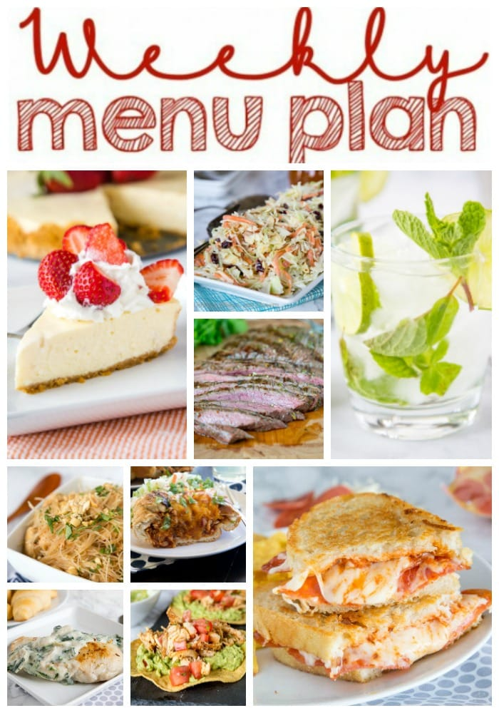 Weekly Meal Plan Week 252- Make the week easy with this delicious meal plan. 6 dinner recipes, 1 side dish, 1 dessert, and 1 fun cocktail make for a tasty week!