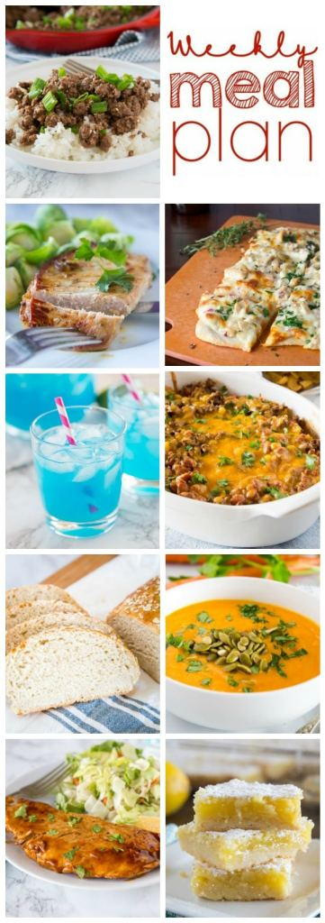 Weekly Meal Plan Week 249- Make the week easy with this delicious meal plan. 6 dinner recipes, 1 side dish, 1 dessert, and 1 fun cocktail make for a tasty week!