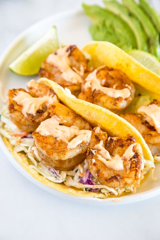 Chipotle Shrimp Tacos with Mexican coleslaw