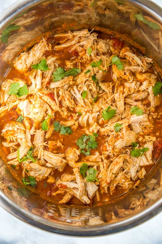 Shredded salsa chicken made in the Instant Pot
