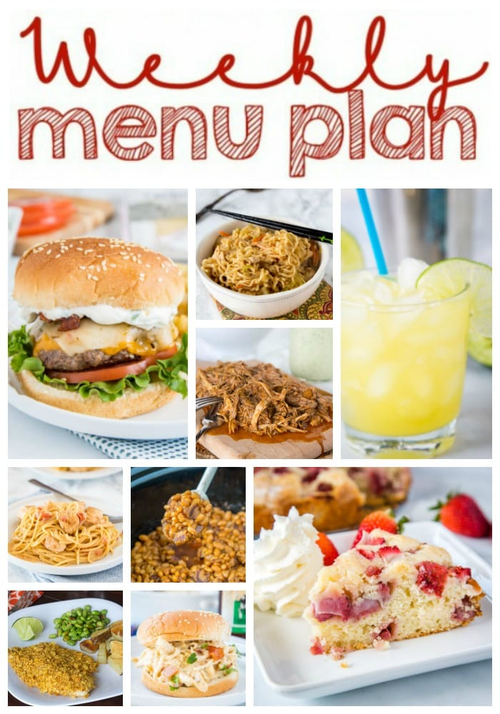 Weekly Meal Plan Week 254- Make the week easy with this delicious meal plan. 6 dinner recipes, 1 side dish, 1 dessert, and 1 fun cocktail make for a tasty week!