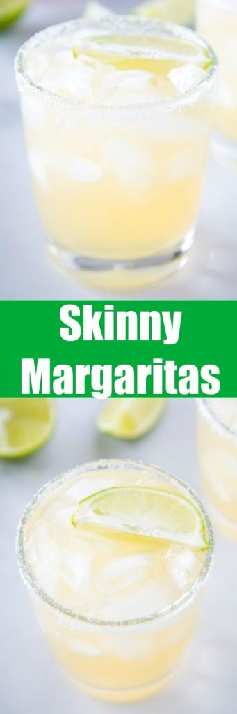 Skinny Margaritas - a light and refreshing margarita that has fewer calories!  It is made with fresh lime juice, fresh orange juice, plenty of tequila and a little agave for sweetness!