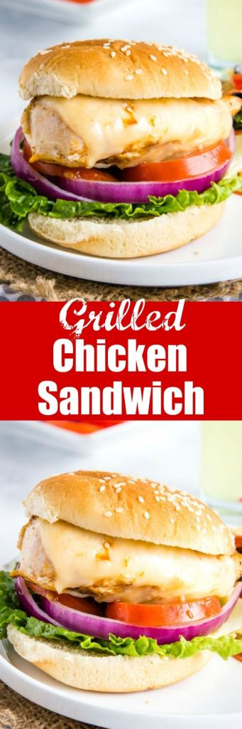 Grilled Chicken Sandwich - this is a classic recipe your family will love.  Tender and juicy grilled chicken topped with your favorite cheese and served on a bun.  Top with your favorite burgers toppings for an easy lunch or dinner.