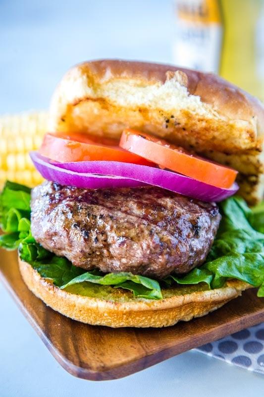 Classic homemade hamburgers on toasted bun