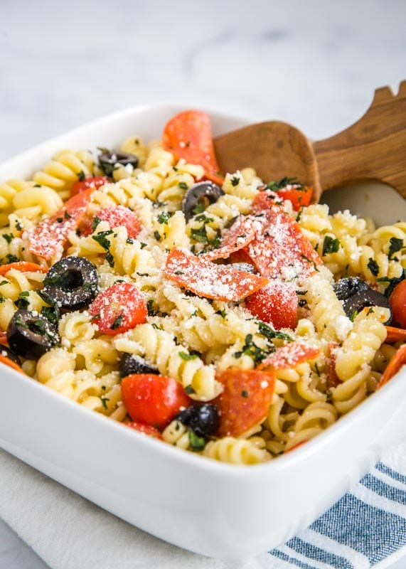potluck pasta salad tossed with italian dressing