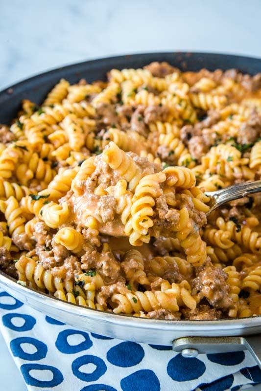 skillet full of creamy beef pasta