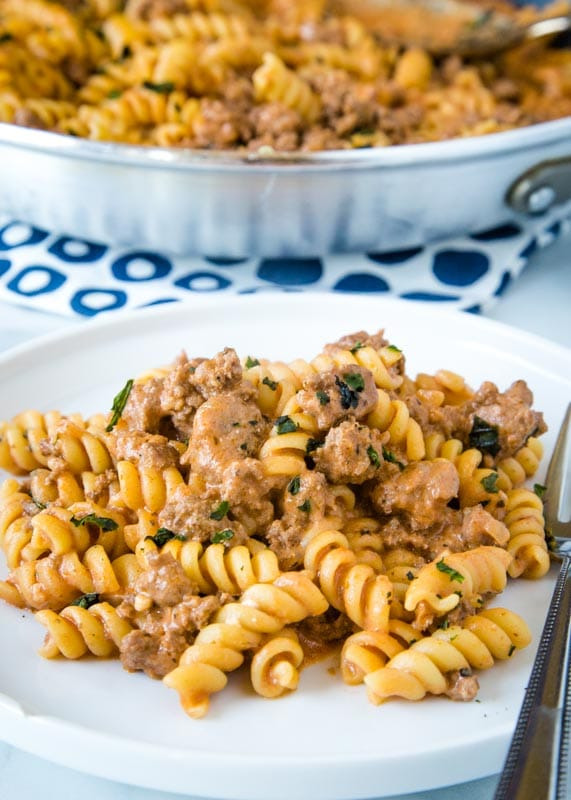 ground beef pasta on a white plate