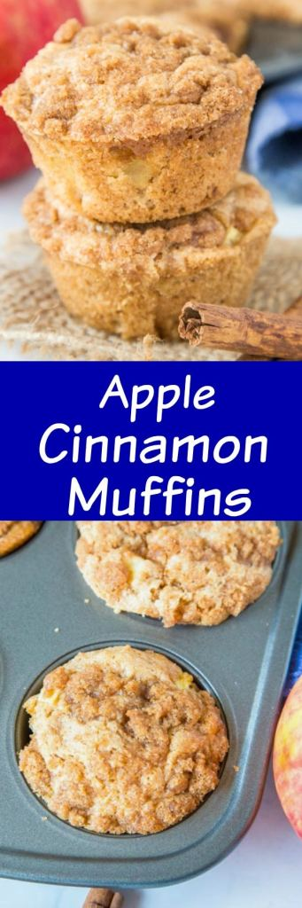 Apple Cinnamon Muffins - a great easy muffin loaded with apples and plenty of cinnamon. They are completely with a cinnamon struesel topping and make for a delicious breakfast or brunch!
