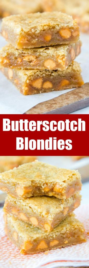 Butterscotch Blondies - soft and chewy blonde brownies that are loaded with butterscotch! A buttery and sweet treat that is easy to make!