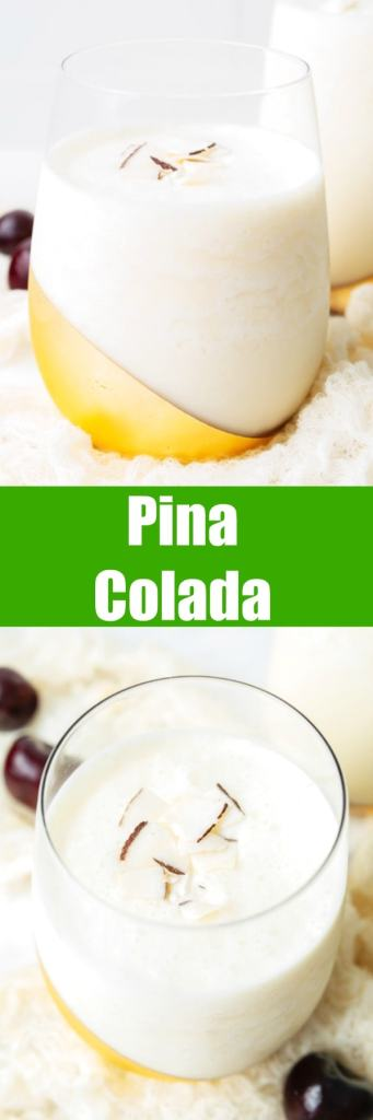 close up of pina colada in a glass