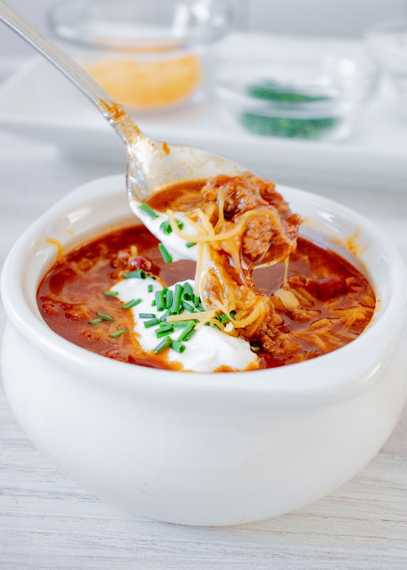 spoonful of turkey chili next to bowl