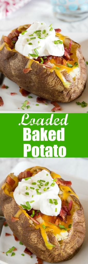 Loaded Baked Potato Recipes - perfect baked potatoes that are topped with cheese, bacon, sour cream and chives! A great side dish or even dinner idea!