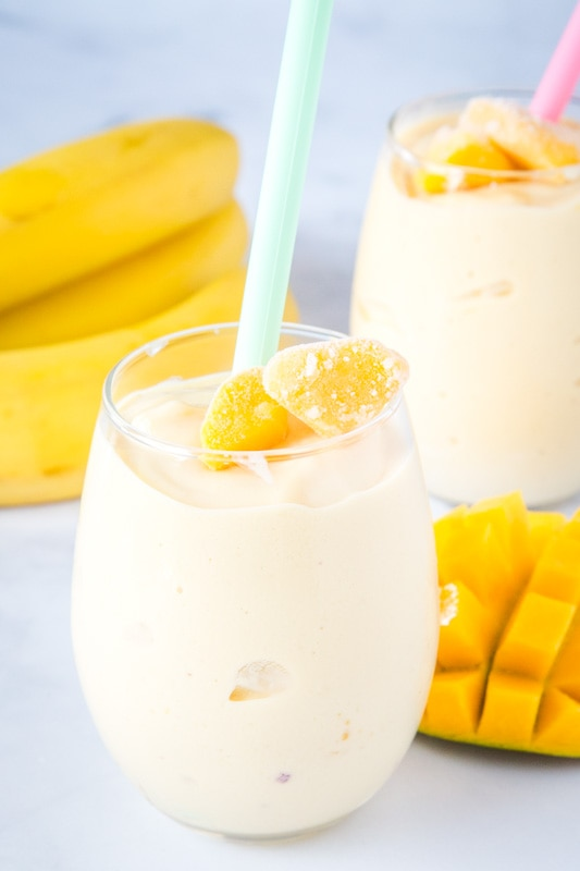 smoothie in a glass with mango