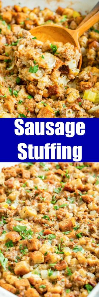 close up of sausage stuffing