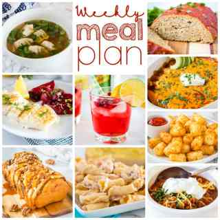 Weekly Meal Plan Week 275 – Make the week easy with this delicious meal plan. 6 dinner recipes, 1 side dish, 1 dessert, and 1 fun cocktail make for a tasty week!
