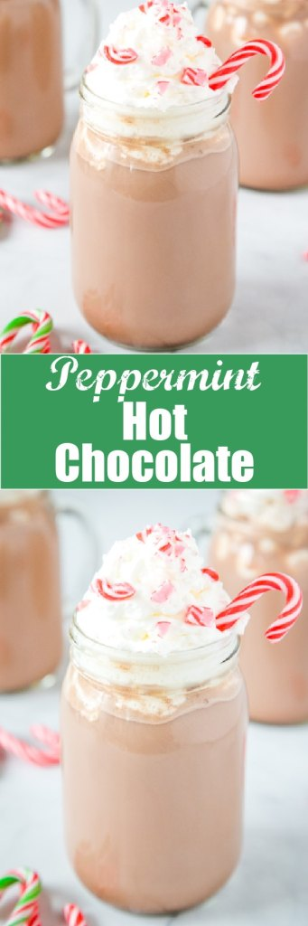 close up peppermint hot chocolate