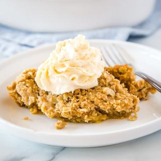 cropped close up of pumpkin crisp on plate